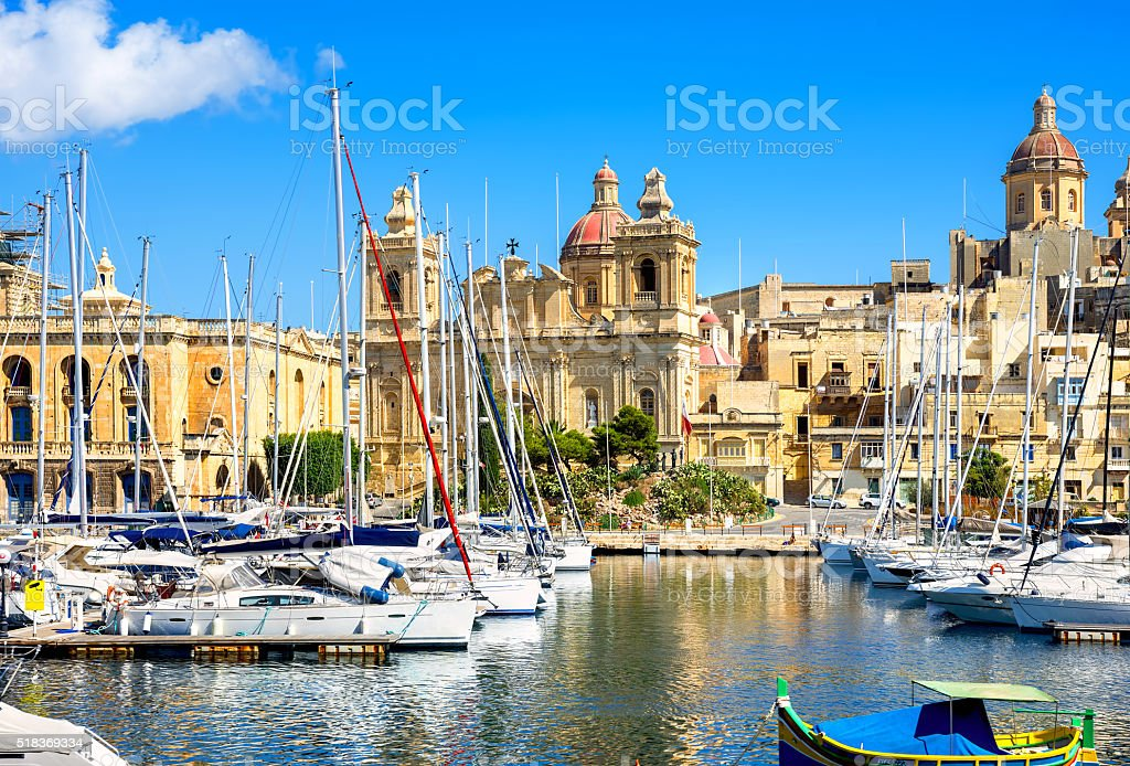 Vittoriosa Harbor with St. Lawrence's Church. Malta stock photo