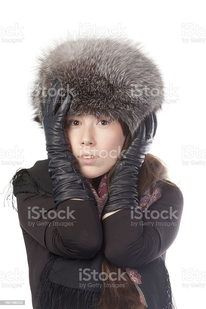 Vivacious woman in winter outfit royalty-free stock photo
