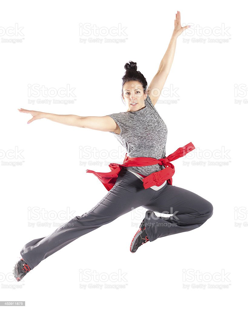 vivacious woman jumping stock photo
