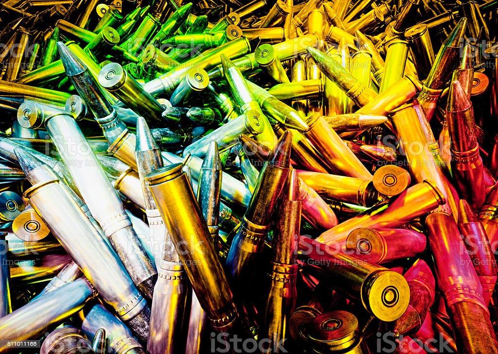Vivid abstract illustration od ammunition. stock photo