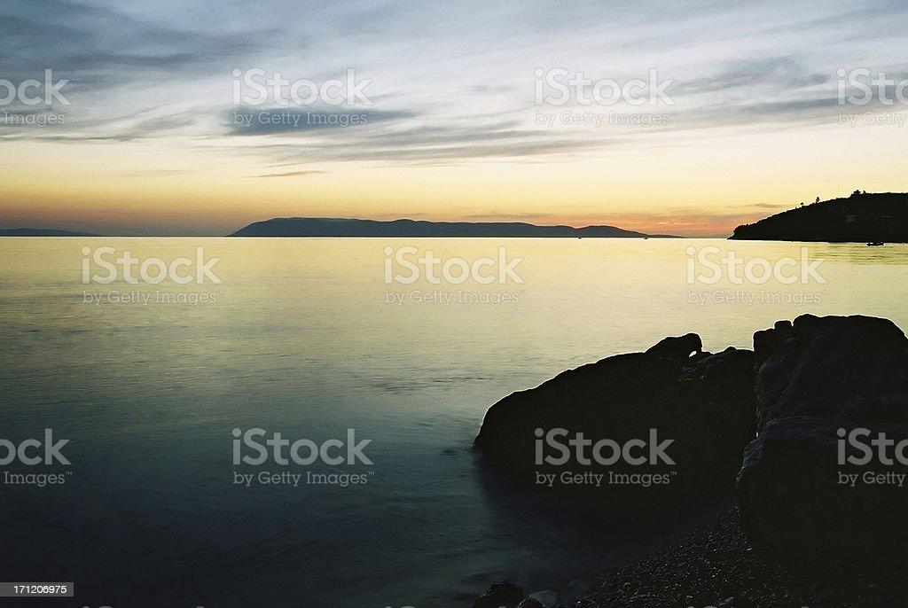 Vivid beach sunset royalty-free stock photo