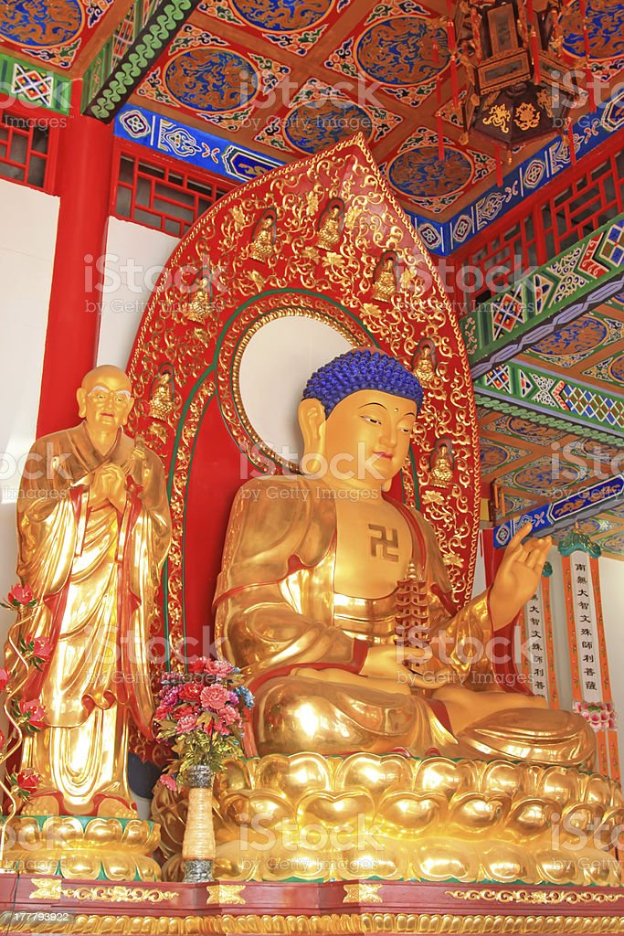 vivid bodhisattva statue in a temple royalty-free stock photo