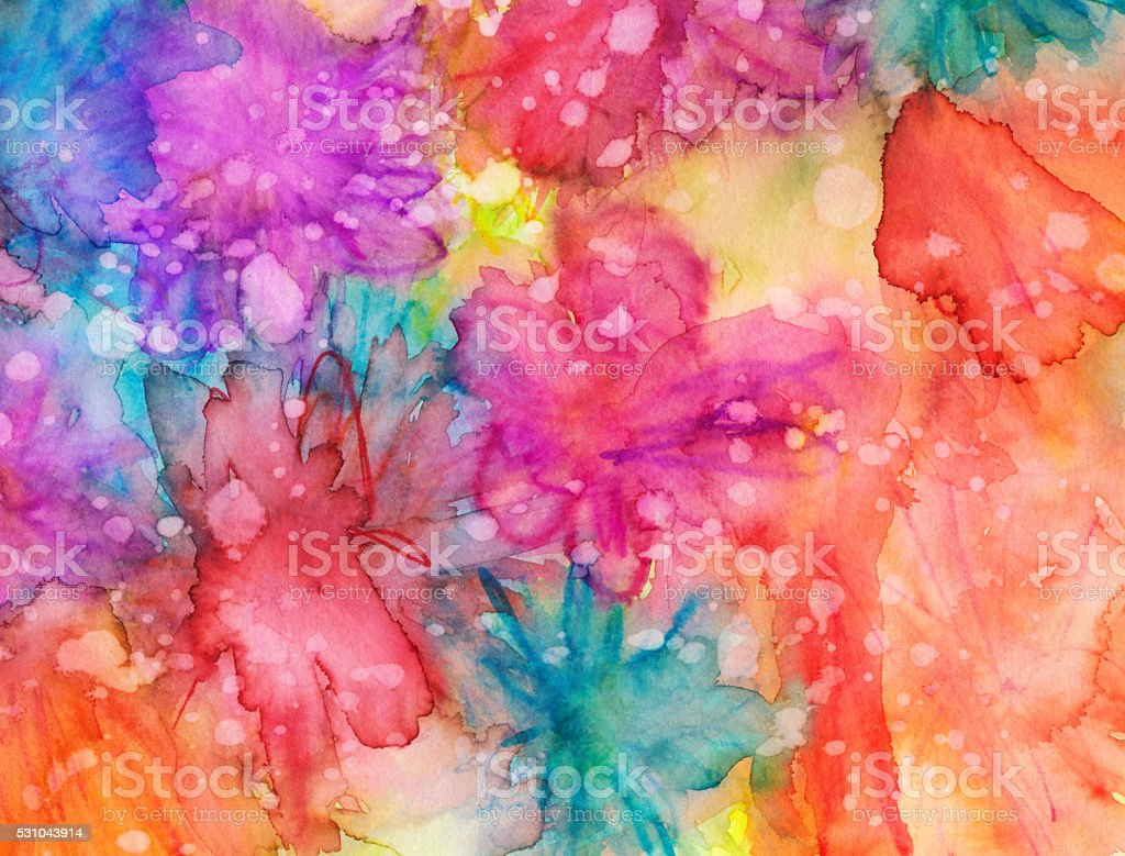Vivid bright abstract flowers hand painted with texture stock photo
