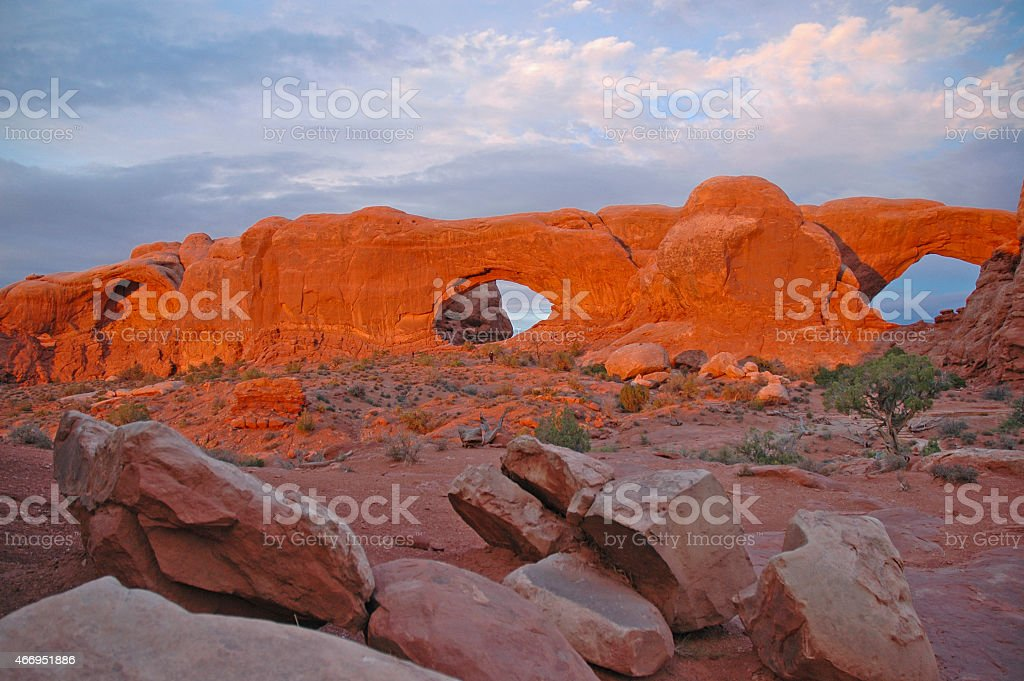 A vivid color photo of The Arches natural rock formation stock photo