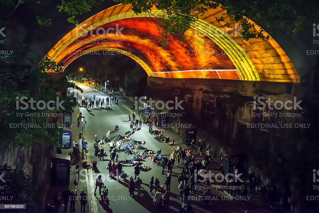 Vivid Festival, Argyle Street, Sydney, Australia stock photo
