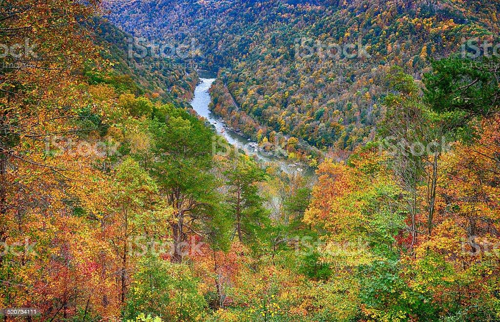 Vivid Full Peak Autumn Colors New River Gorge, West Virginia stock photo