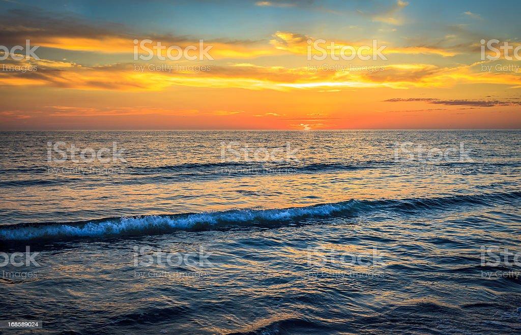 Vivid Ocean Sunset - Vibrant Colors stock photo