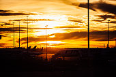 vivid orange sunset over the aircraft at the airport