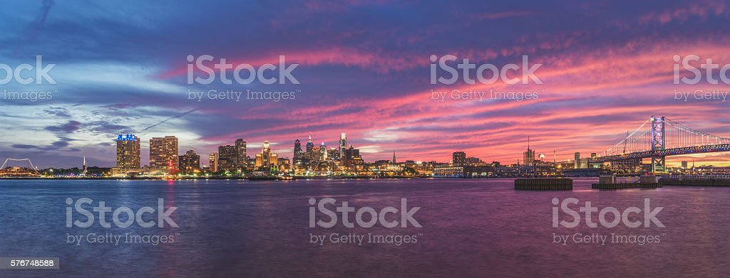 Vivid Sunset Over Philadelphia Skyline stock photo