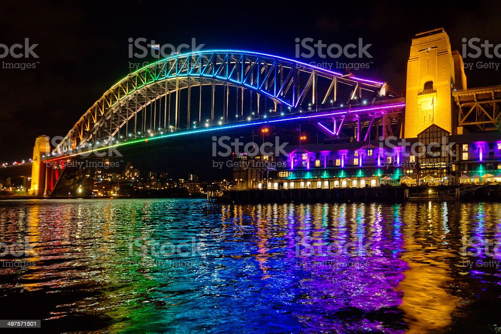 Vivid Sydney 2014 - Harbour Bridge stock photo