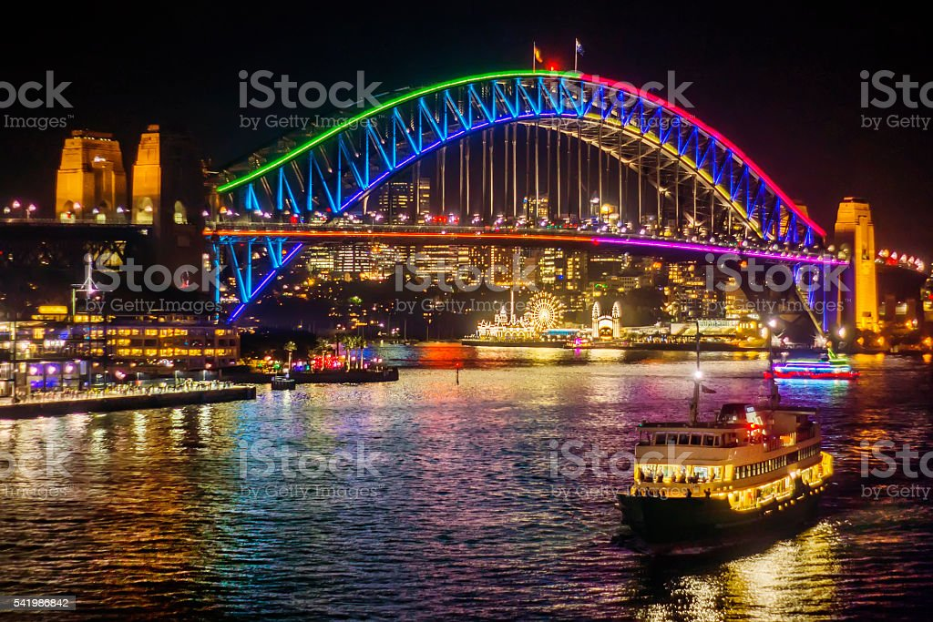 Vivid Sydney 2016 - Harbour Bridge stock photo