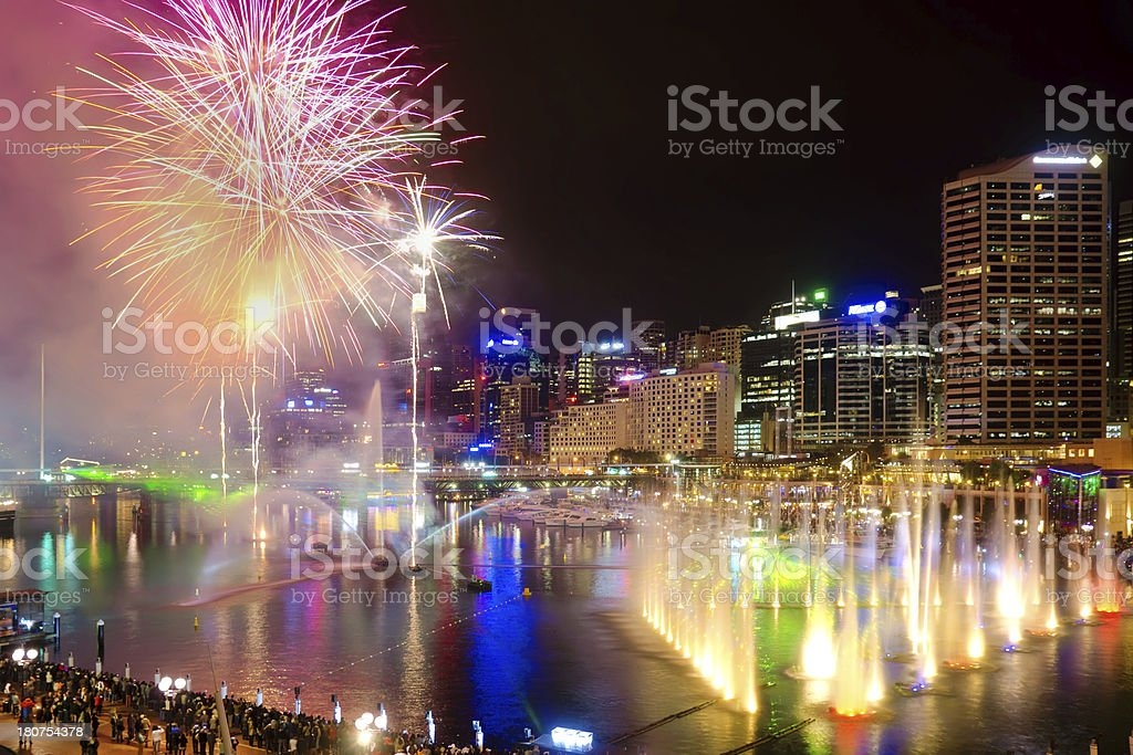Vivid Sydney - Darling Harbour Fireworks royalty-free stock photo