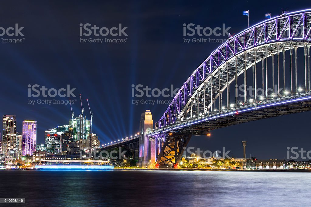 Vivid Sydney - Harbour Bridge stock photo