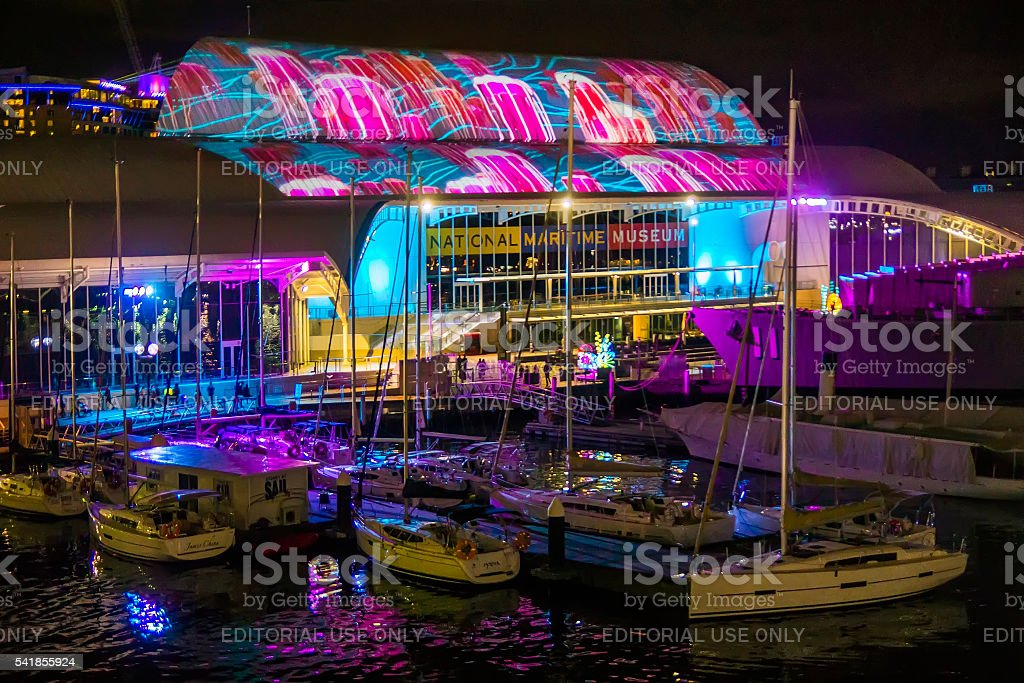 Vivid Sydney - National Maritime Museum stock photo