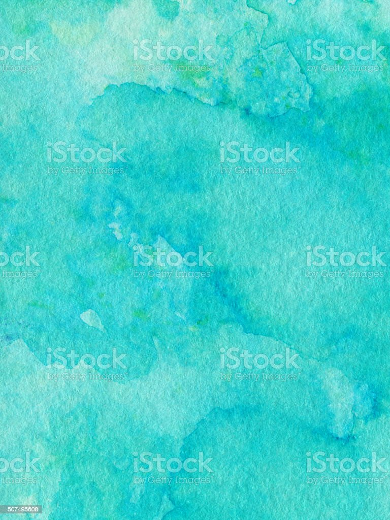 Vivid turquoise color hand painted with distressed texture vector art illustration