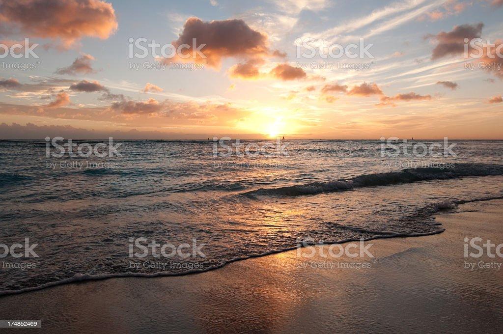 Vivid Waikiki Sunset royalty-free stock photo