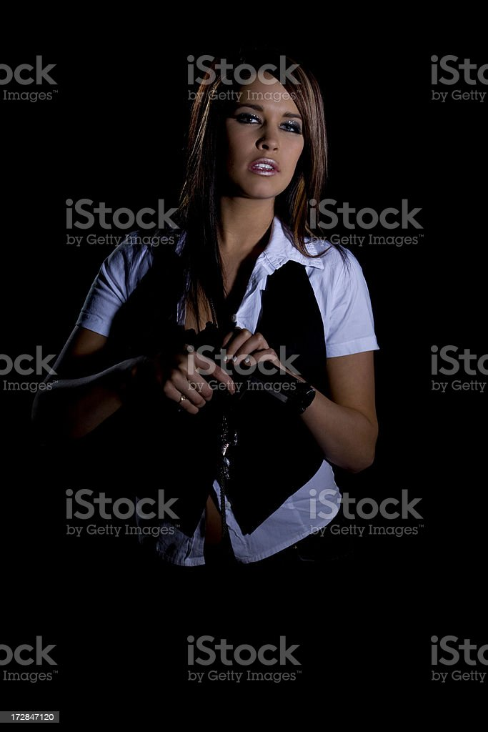 vixen with gun royalty-free stock photo