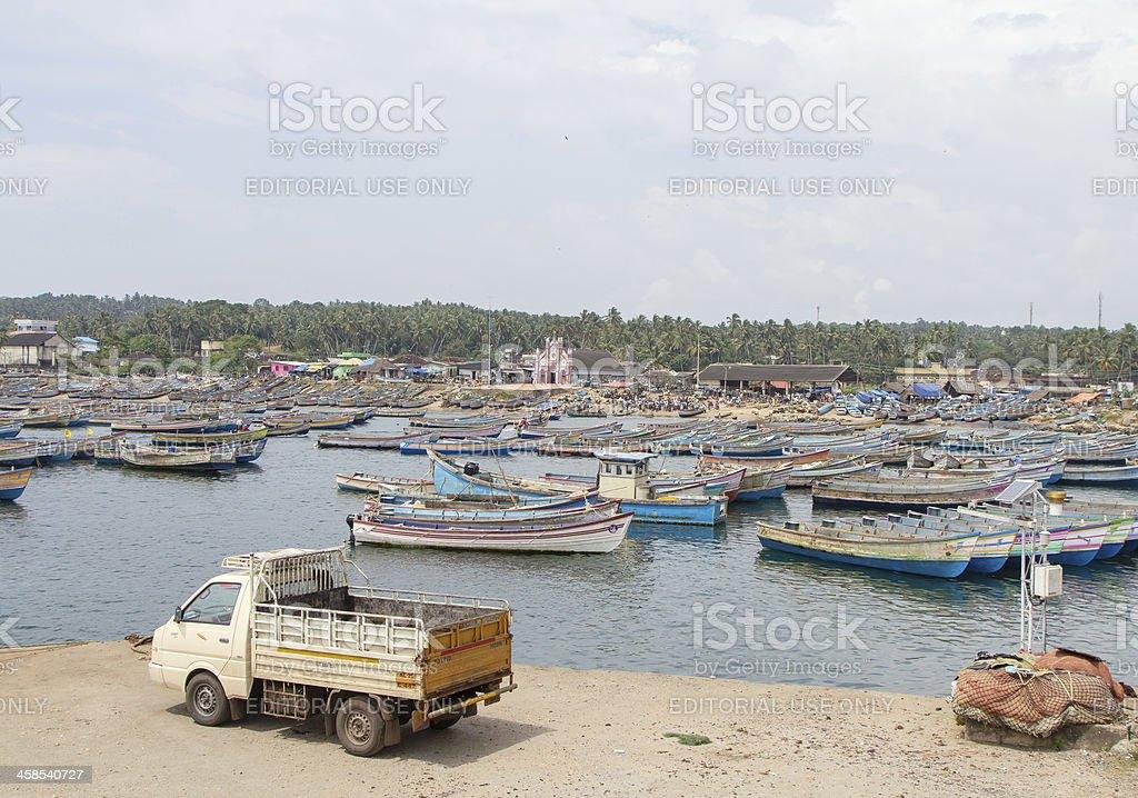 Vizhinjam fishing harbor, Kovalam, India stock photo