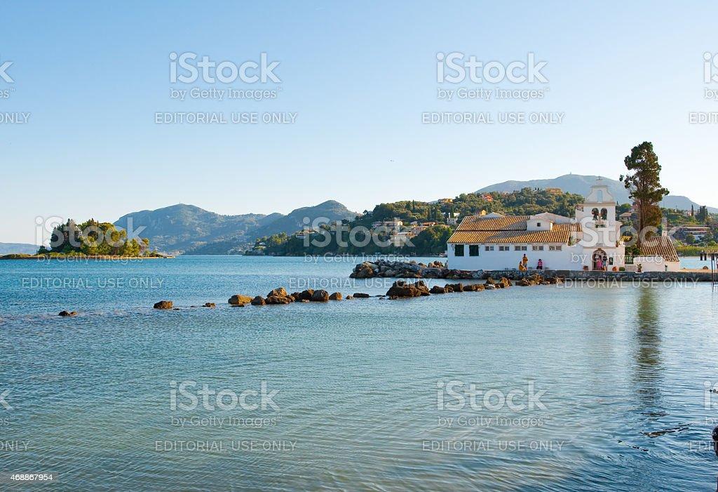 Vlacheraina monastery seen from the Kanoni on Corfu, Greece. stock photo