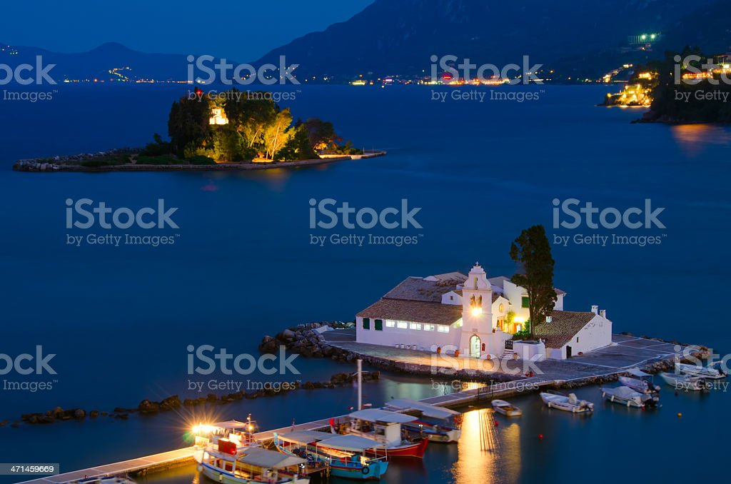 Vlacherna and Mouse Island stock photo