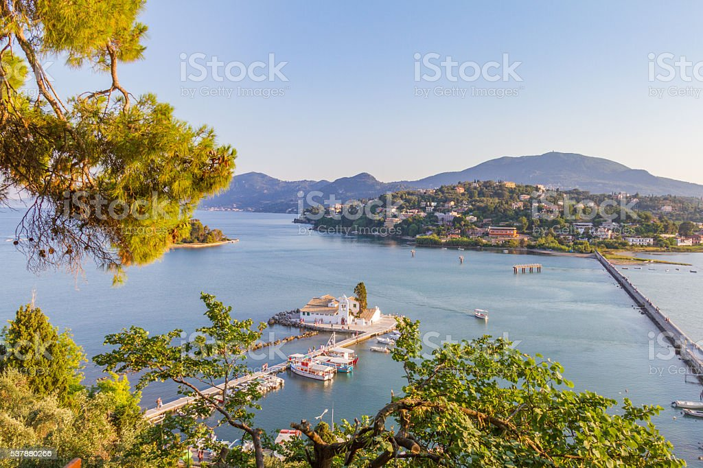 Vlacherna Monastery and Mouse Island (Pontikonisi), Corfu, Greec stock photo
