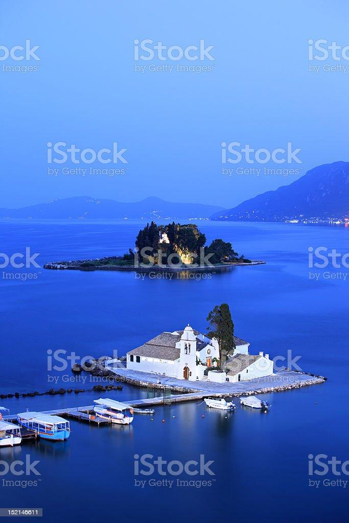 Vlacherna Monastery and Mouse island on Corfu, Greece stock photo