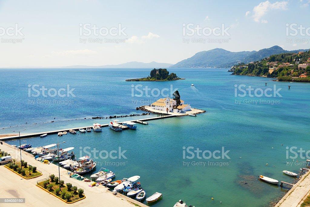 Vlacherna Monastery and Mouse island on Corfu stock photo