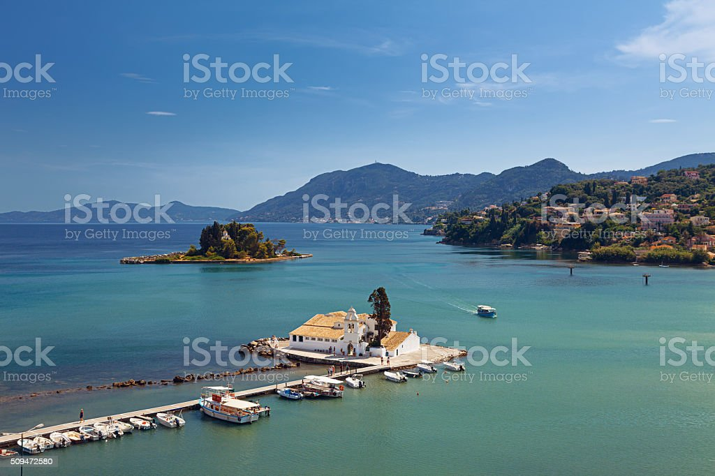Vlacherna Monastery and Pontikonisi stock photo