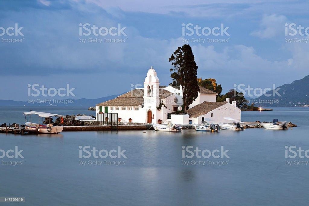 Vlacherna monastery at sunrise, Corfu, Greece stock photo