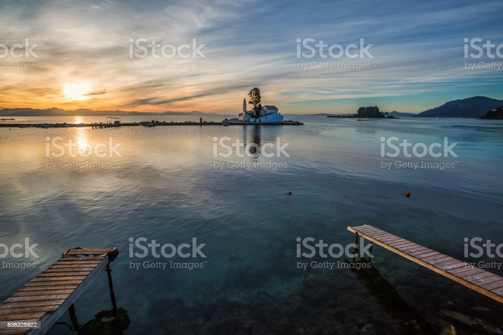 Vlacherna Monastery at sunrise stock photo