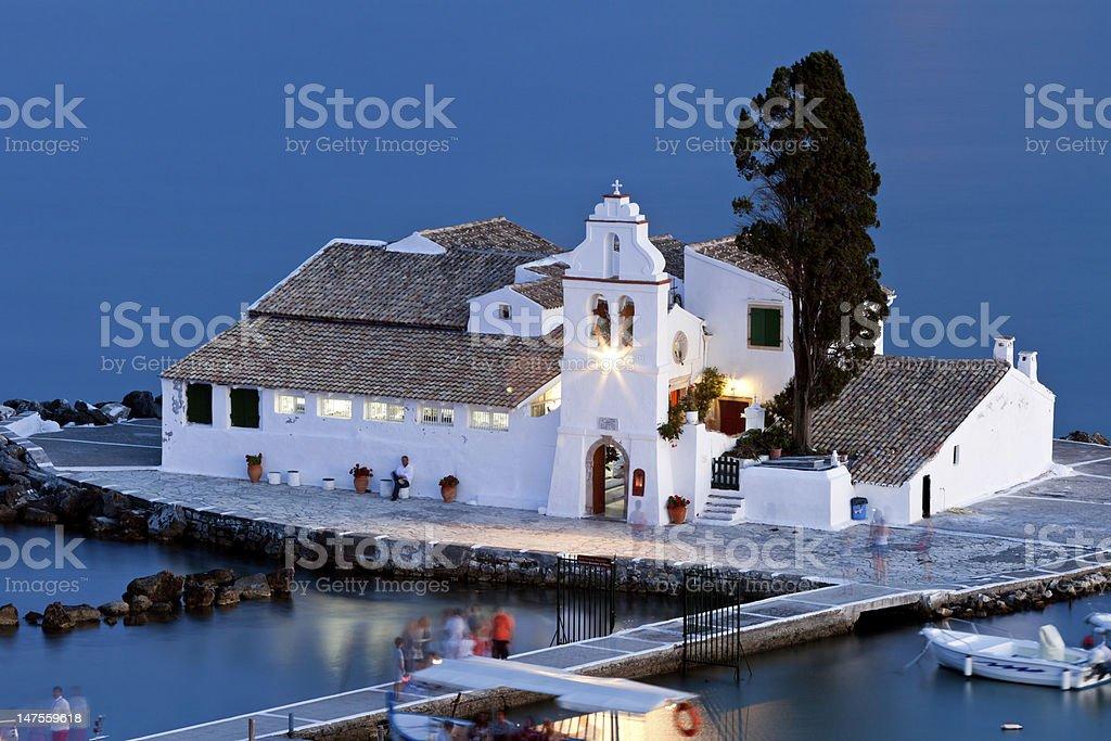 Vlacherna monastery at sunset, Corfu, Greece stock photo