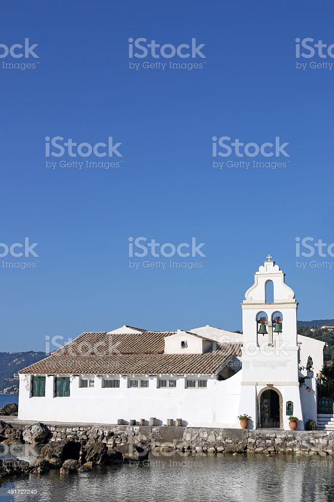 Vlacherna monastery Corfu island Greece stock photo