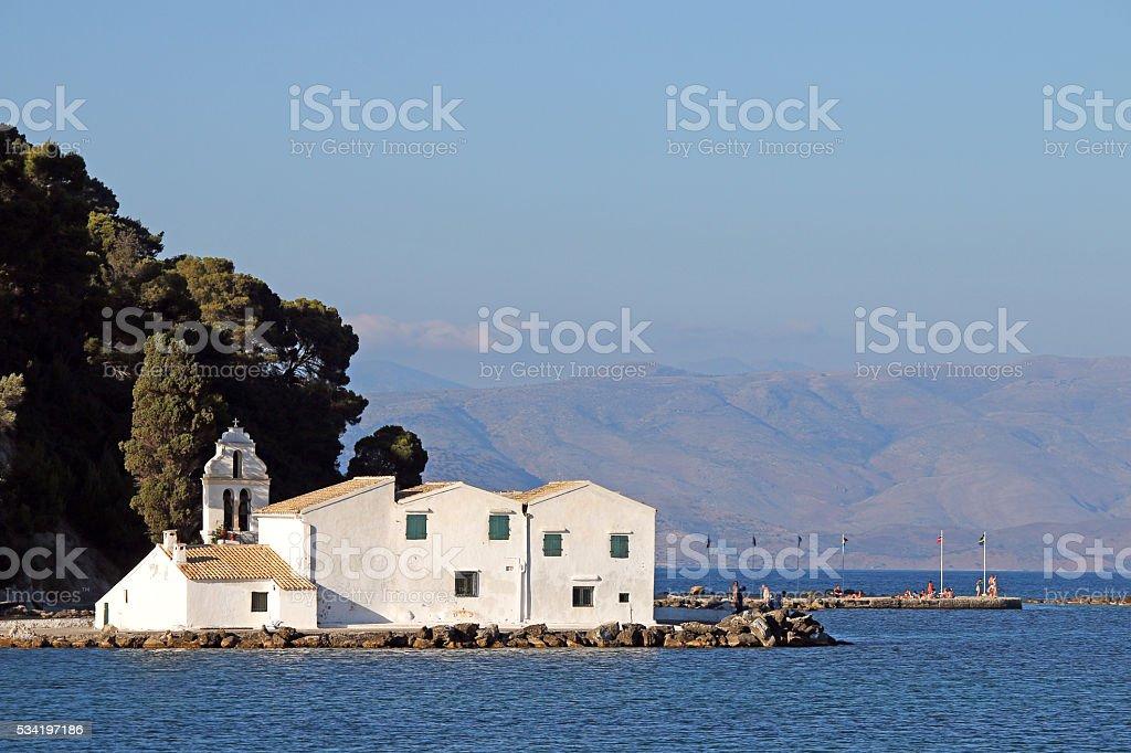 Vlacherna monastery Corfu island Greece summer season stock photo