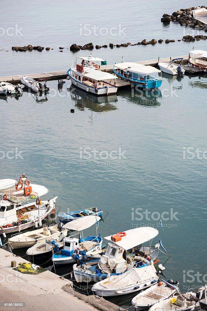 Vlacherna Monastery's port with boats in Corfu, Greece. stock photo