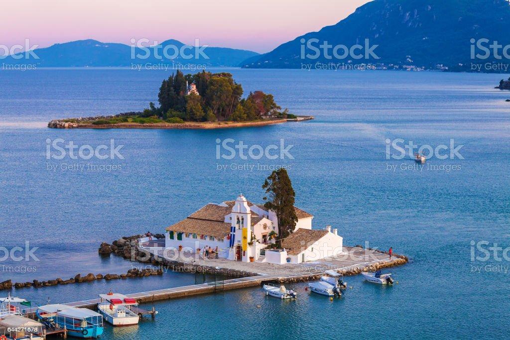 Vlacherna orthodox monastery in Corfu stock photo