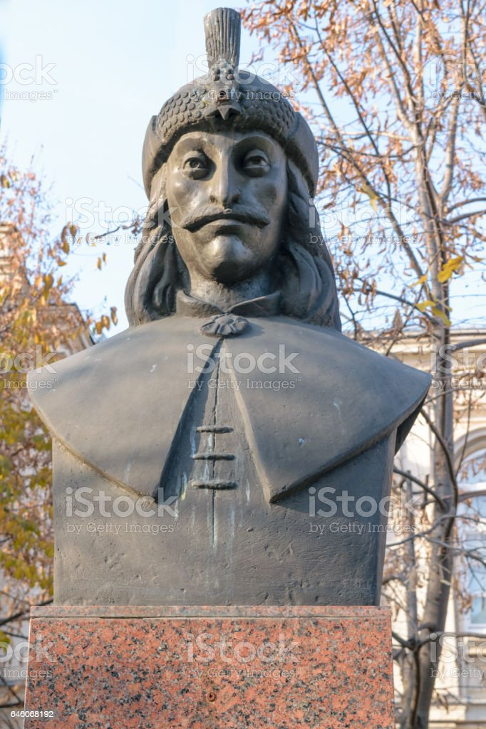 Vlad Tepes bust statue also know as Dracul Dracula stock photo