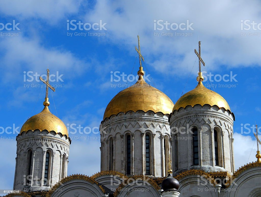 Vladimir, Dormition Cathedral. Detail of the domes stock photo