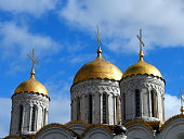 Vladimir, Dormition Cathedral. Detail of the domes