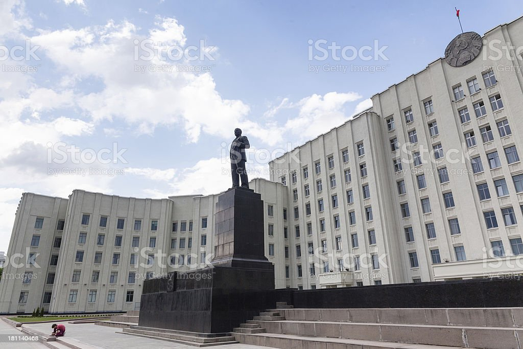 Vladimir Lenin monument before a Government building in Mogilev, Belarus stock photo