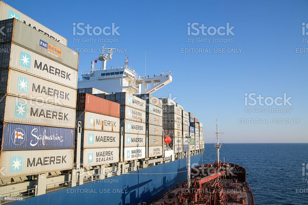 Vladimir Vysotsky bunkering container ship Cezanne stock photo
