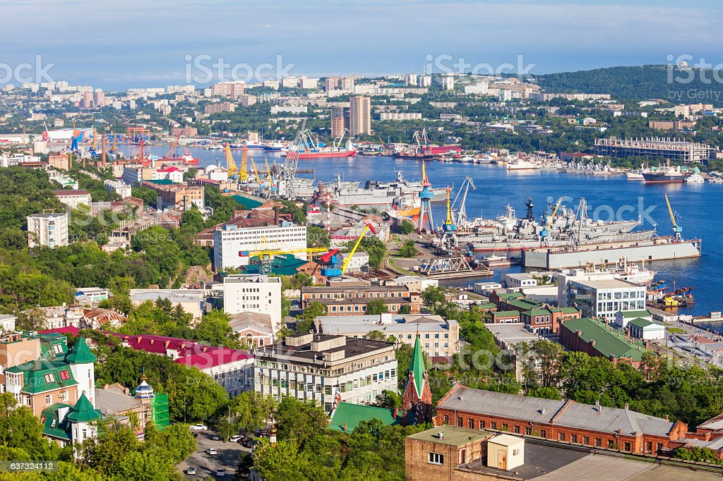 Vladivostok aerial panoramic view stock photo