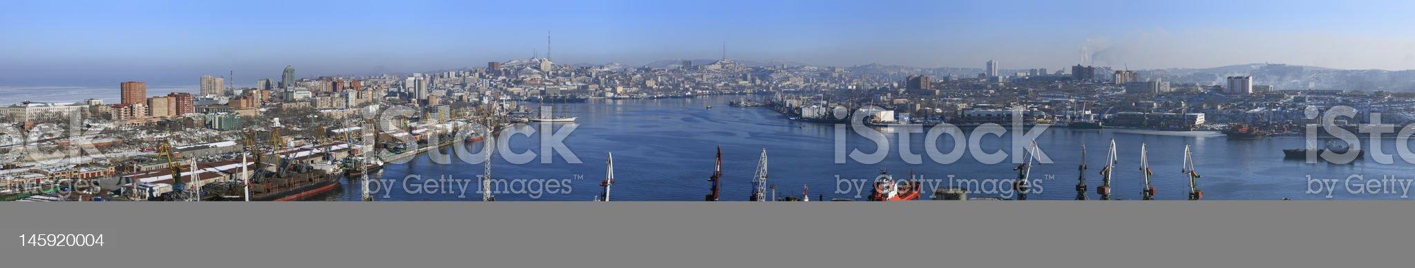 Vladivostok, panarama of Golden Horn Bay royalty-free stock photo