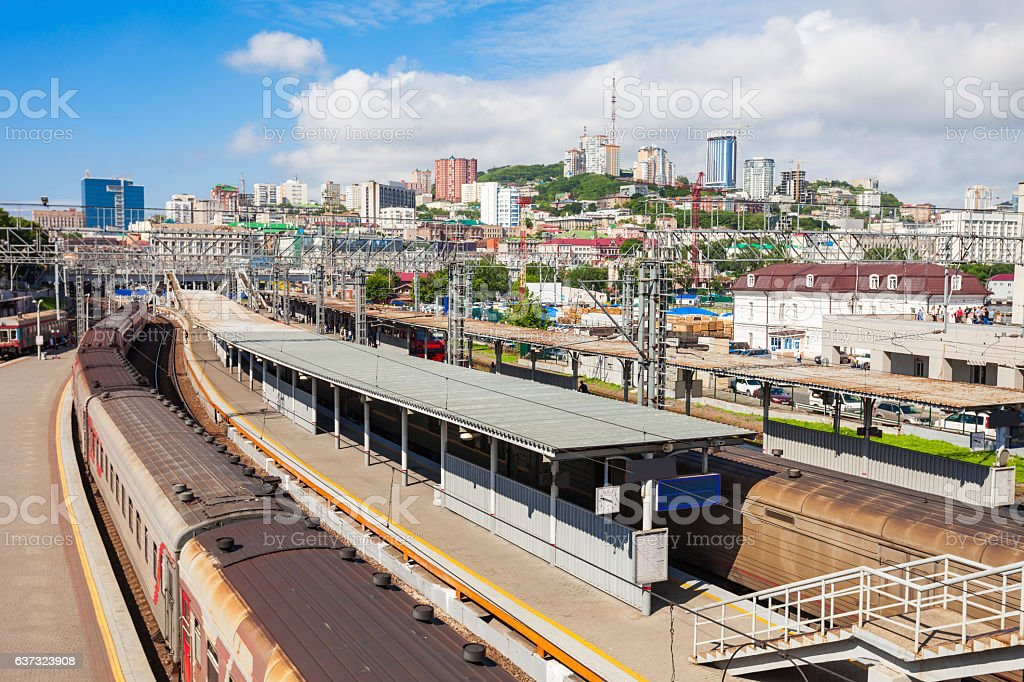 Vladivostok railway station, Russia stock photo