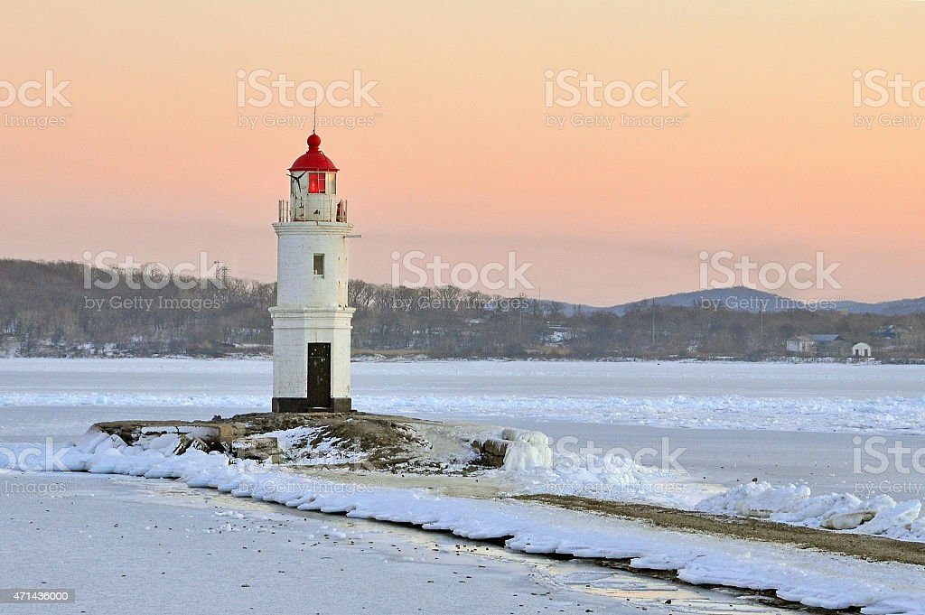 Vladivostok. The lighthouse Egersheld (1876) in winter stock photo
