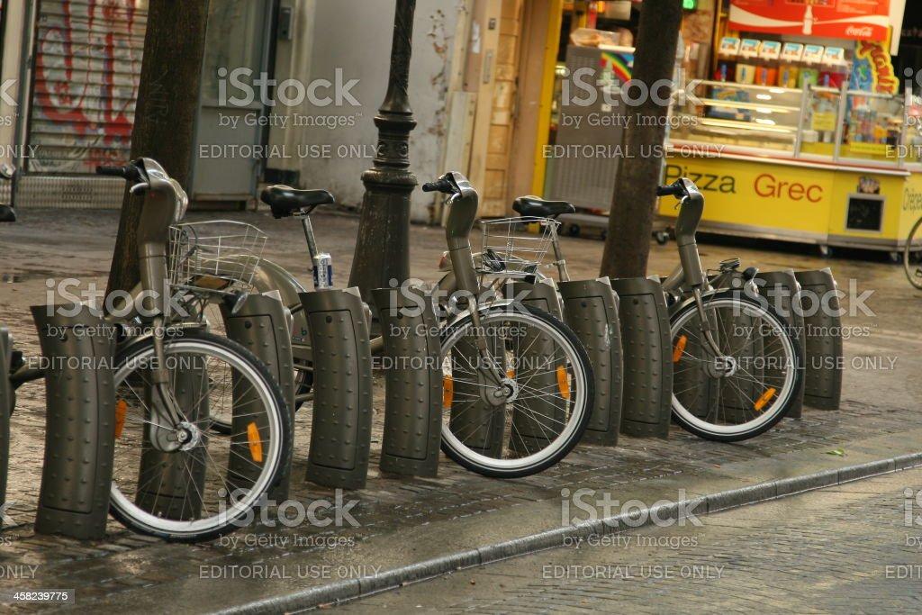 Vélib bicycle station royalty-free stock photo
