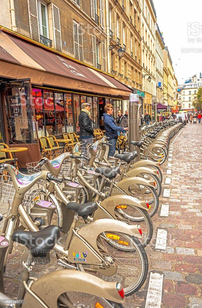 V?lib' bicycle station stock photo
