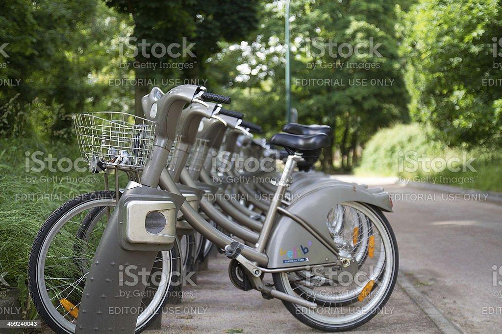Vélib, Self-service bike, park of Vincennes stock photo