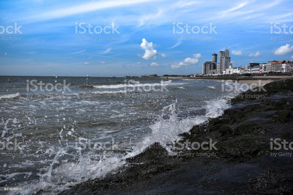 Vlissingen boulevard, beach waves stock photo