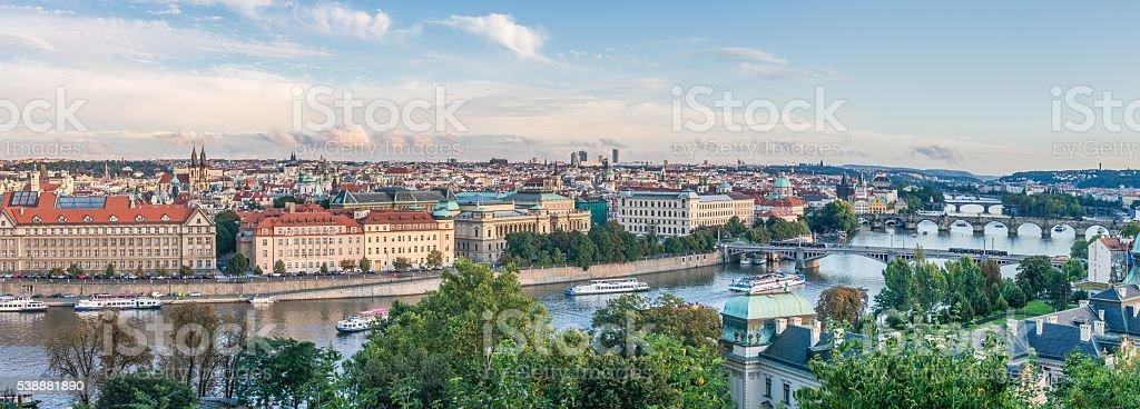 Vltava river and bridges in Prague, Czech republic, Europe. stock photo