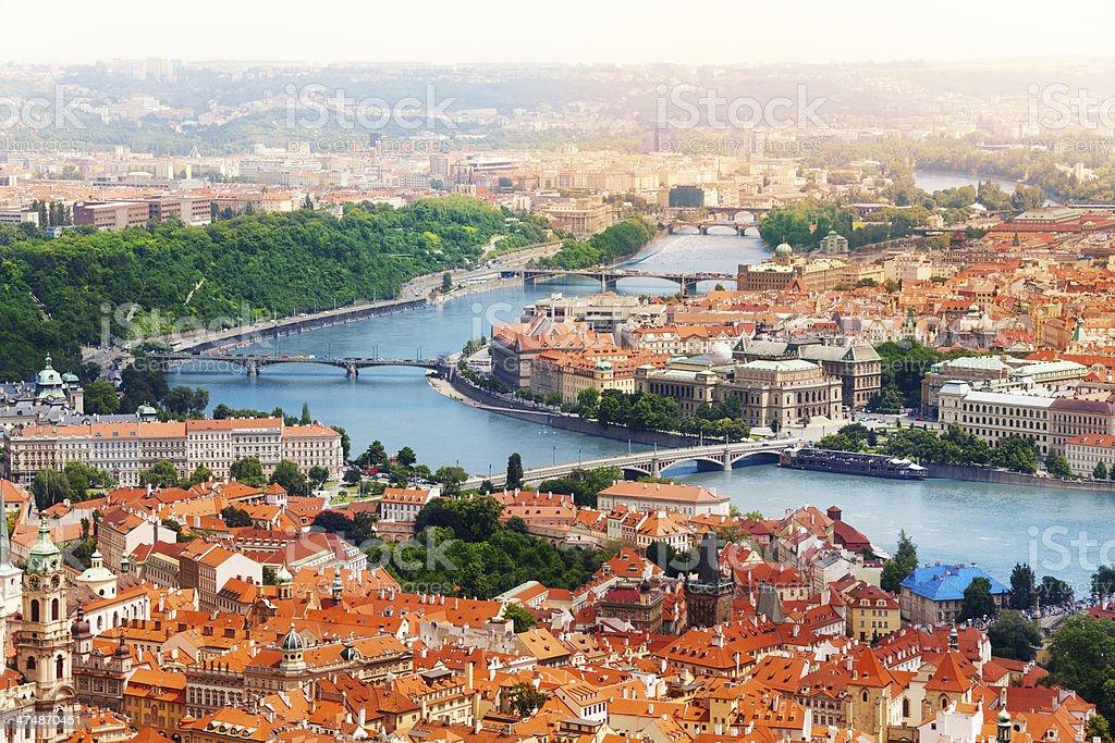 Vltava river and bridges in Prague stock photo